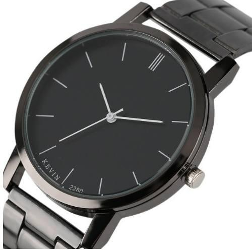 Reloj Metalico Negro Marca Kevin Original Hombre B159 Stripe