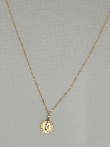 Cadena Y Medalla San Benito Para Bautizo Oro Solido