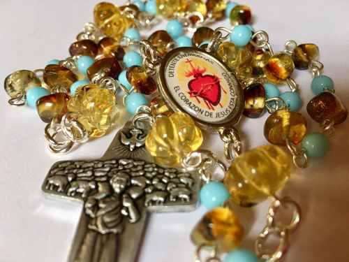 Detente Rosario Sagrado Corazón Ambar Estuche Piel