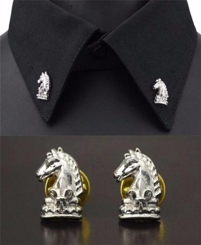 Elegantes Broches De Caballo Para Cuello De Camisa B-002