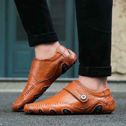 Estilo Moda Hombres Mocasines Gancho Casual Zapatos Marrón