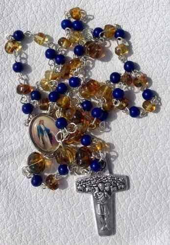 Rosario Medalla Milagrosa Ámbar Jade Azul Papa Estuche Piel