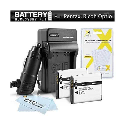 2 Batería Y El Cargador Del Kit Para Pentax Optio Wg-1,