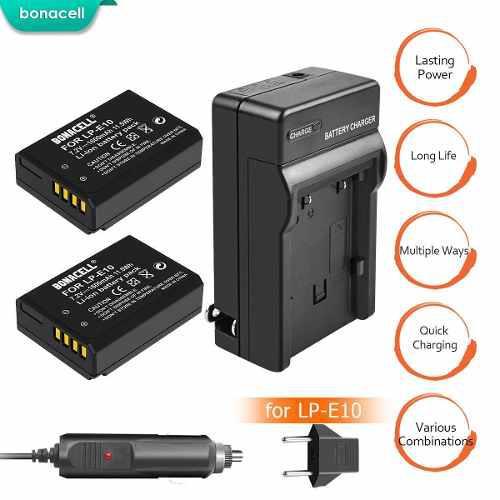 2 Baterias Lp E10 Batería + Cargador Canon Eos Rebel T5 T6