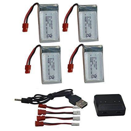 Blomiky 4pcs 3.7v 500mah Batería Y 5 En 1 Cargador De