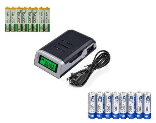 Cargador Digital Para Baterías + 16 Pilas Aa O Aaa