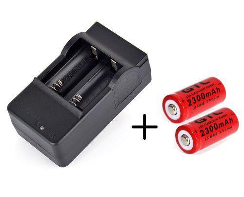 Cargador Doble + 2 Baterias Pilas Gtl Mod Cr123 De 2300 Mah