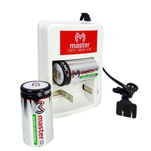 Cargador Para Baterias Tipo D Con Dos Baterias Incluidas