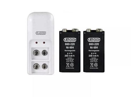 Cargador Y 2 Baterías 9v Cuadradas Pilas Recargables -