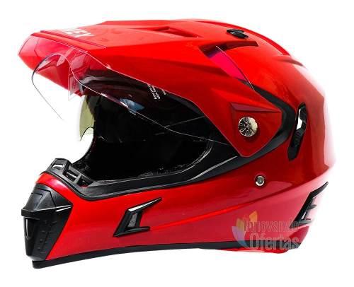 Casco Para Moto Cross Enduro Con Mica Y Gafas Abatibles