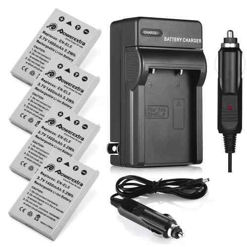 Charger + 4x Battery - Cargador + Batería En-el5 Para