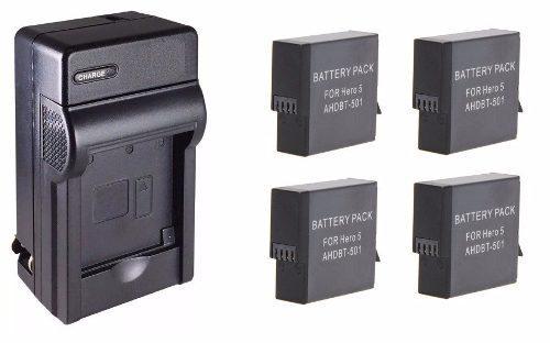 Kit 1 Cargador + 4 Baterías Ahdbt-501 Gopro Hero 5 6 Y 7