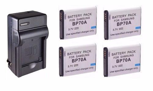 Kit 1 Cargador + 4 Baterias Bp-70a Para Camara Samsung