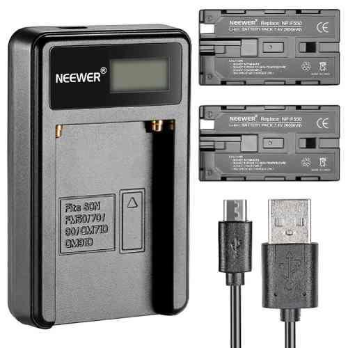 Kit 2 Baterías Tipo Sony Npf550 2600 Mah Y Cargador