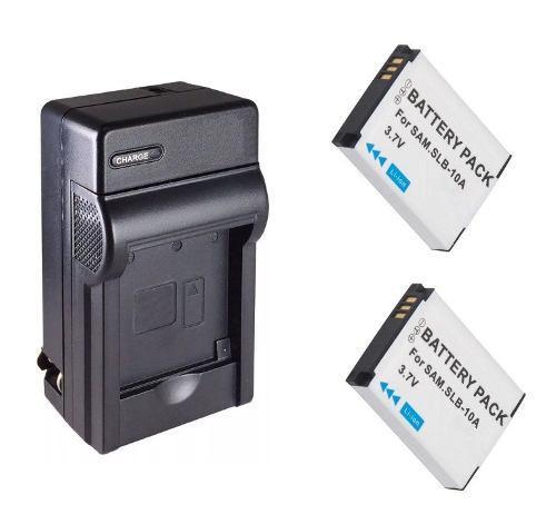 Kit Cargador Y 2 Baterías Slb-10a Para Cámara Samsung