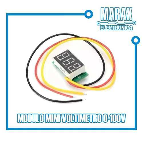 Mini Voltímetro Display Rojo 3 Dígitos 0-100v Dc Arduino