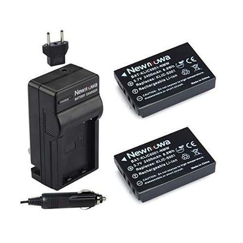 Newmowa Klic-5001 Batería (2-pack) Y El Kit De Cargador