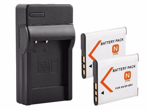 Pack Cargador + 2 Baterias Np-bn1 Para Sony Genericas