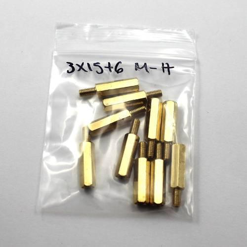 Paquete Con 10 Separadores De Latón M3 15 Mm M-h
