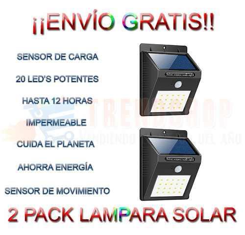 2 Pack Lampara Solar 20 Led Sensor Movimiento Impermeable