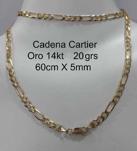 Cadena Tipo Cartier De Oro Macizo 14k 60cm Pesa 20gr 5mm