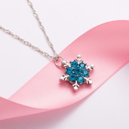 Collar Collares Copo De Nieve Color Azul Novia Amiga Hermoso