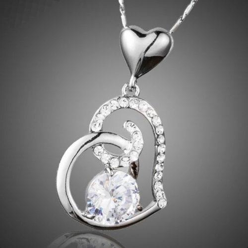Collar Corazón Swarovski Elem Regalo Amor Envío