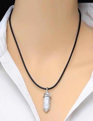 Collar Cuarzo Cristal + Collar De Vinipiel + Envío Gratis