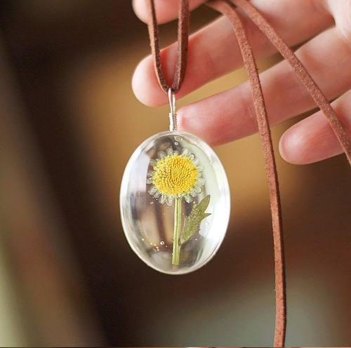 Collar Girasol Mujer Flor Encapsulada + Caja De Regalo Novia