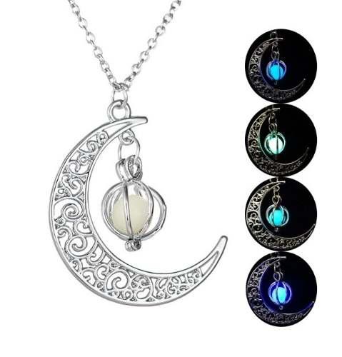 Collar Luna Lagrima Brilla Oscuridad Mujer