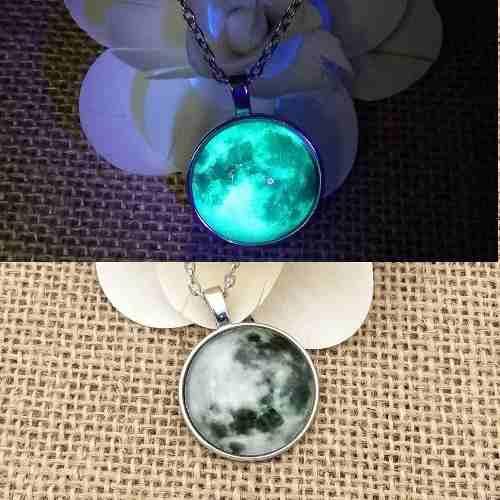 Collar Luna Llena Gris Brilla Oscuridad Moda Envió Gratis