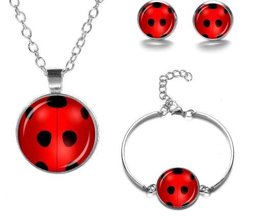 Collar Pulsera Y Aretes Ladybug Miraculous El Mejor Regalo