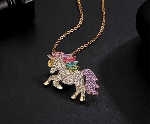 Collar Unicornio Oro Lam. 18k Y Brillantes Austriacos