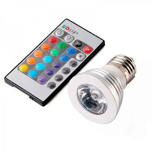 Foco Lampara Led Rgb E27 16 Colores 3 Watts Para Casa