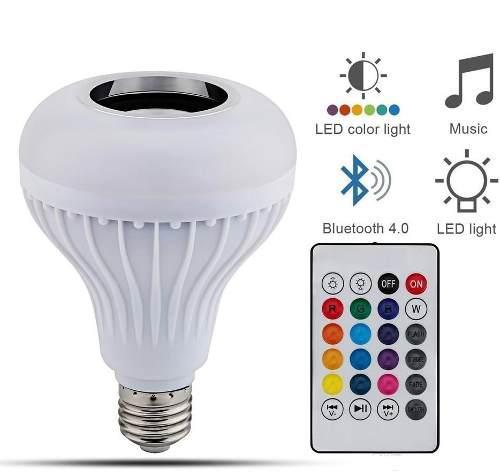 Foco Led 12w Bocina Multicolor Rgb Bluetooth Control Remoto