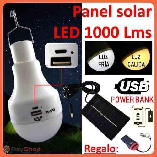 Foco Led Panel Solar Recargable Usb V8 Luz Fría Cálida