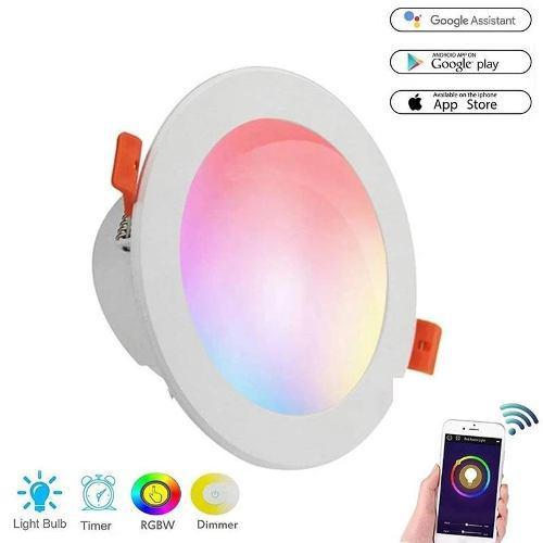 Lampara Led 6w Plafon Empotrar Inteligente Wifi Rgb