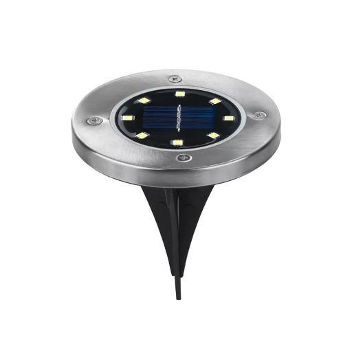 Lampara Led Solar Jarin Piso 8 Leds Automatica Disk