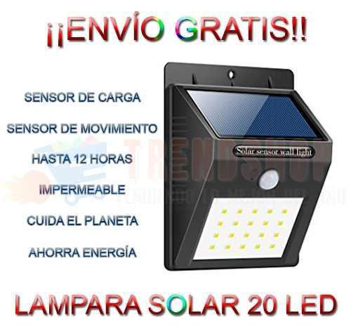Lampara Solar 20 Led Sensor Movimiento Impermeable Exterior