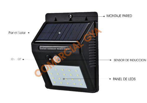 Lampara Solar 20 Leds Con Sensor De Movimiento Exteriores