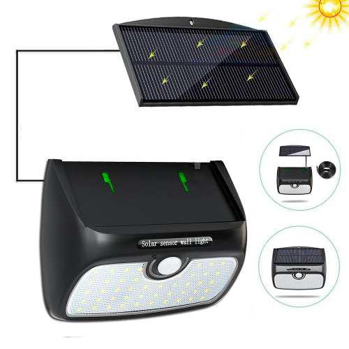 Lampara Solar Exterior 38 Leds Pared Única Con Panel