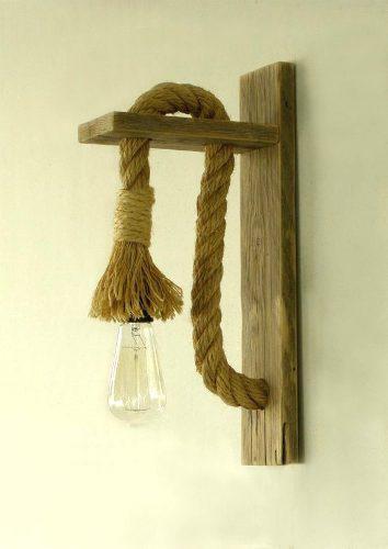 Lámpara De Pared De Cuerda Con Foco Vintage Incluido