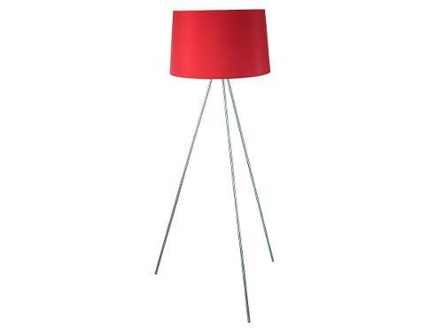 Lámpara De Piso 3 Patas Níquel Satinado Tela Rojo 100w E27