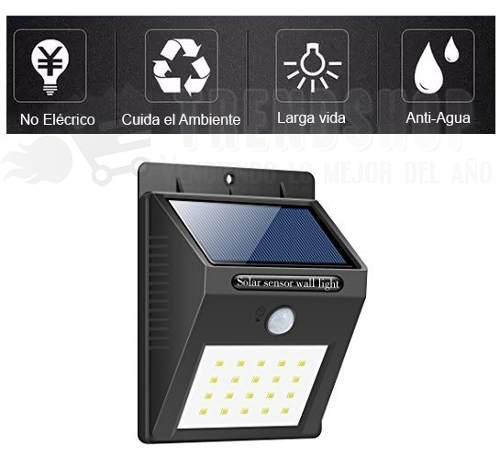 Lámpara Solar 20 Led Con Sensor De Movimiento
