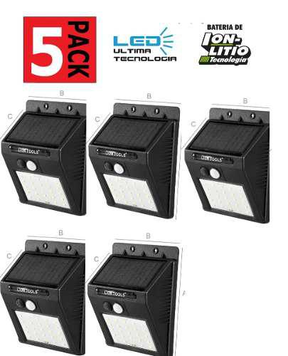 Lámpara Solar Led 5 Pack Sensor De Movimiento Y Luz Ip65