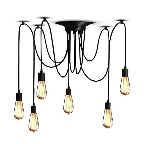 Lámpara Vintage Colgante Araña Techo Industrial 6 Focos