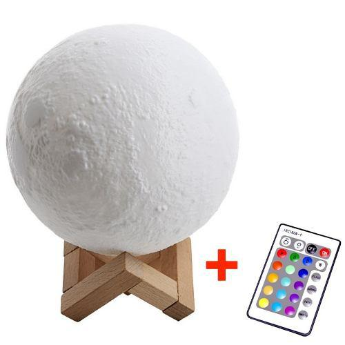 Moonlight Luna 3d Lampara Luz Led 16 Colores 18cm + Remoto