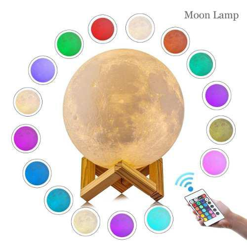 Moonlight Luna 3d Lámpara Luz Led Dimmer Control Remoto