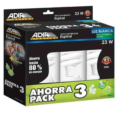 Multipack 3 Foco Ahorrador 2880 Espiral 23w Luz Blanca Adir