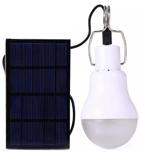 Panel Solar Y Foco Led De 5w Bombilla Recargable